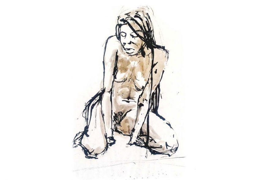 akt zeichnung mit linker Hand